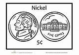 Coloring Education Nickel Money Worksheets Preschool Pages Printable Math Kindergarten Worksheet Special sketch template
