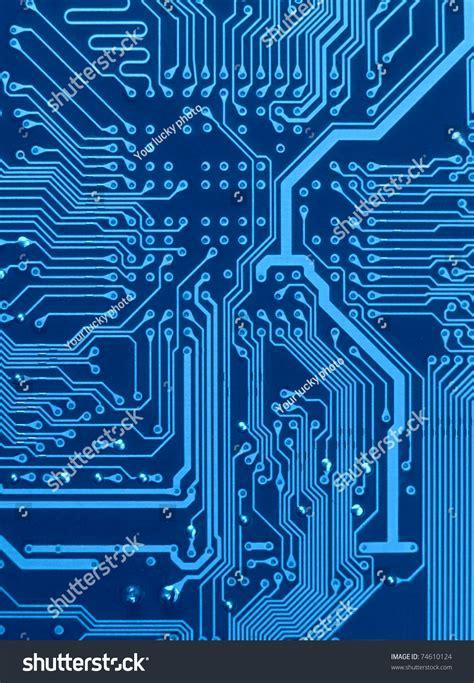 Dark Blue Circuit Board Scheme With Conductors Solder