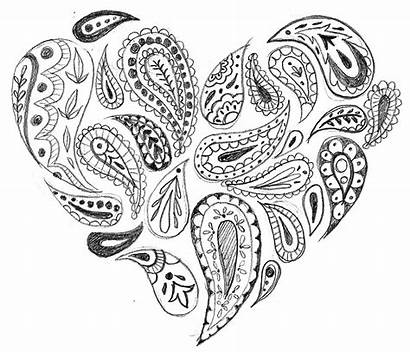 Heart Paisley Paisly Coloring Hearts Pages Printable