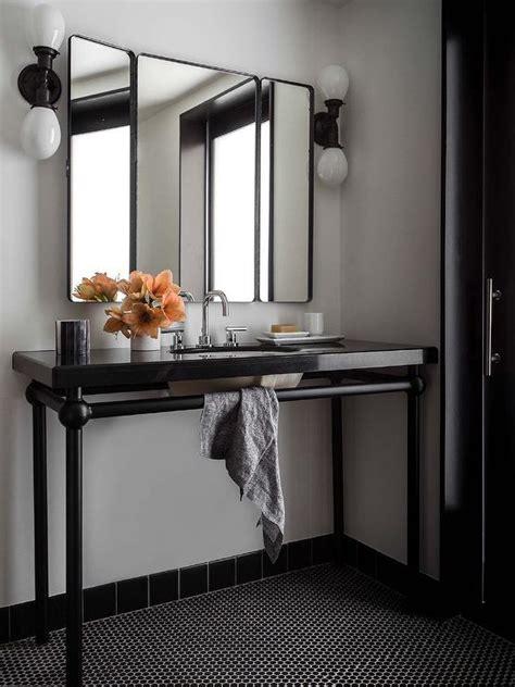 bathroom  black penny tiles contemporary bathroom