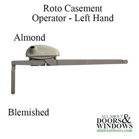 blemished roto pro drive dual  arm casement window operator left hand shown almond