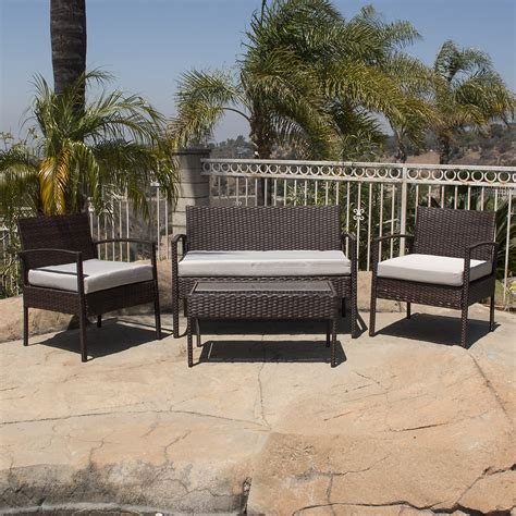 Rattan Patio Furniture by 4pc Rattan Wicker Patio Furniture Set Sofa Chair Table