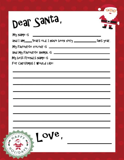 printable santa letter template holiday christmas