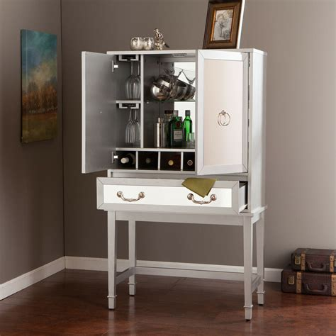 Wine Bar Furniture by Mirrored Regency Glam Liquor Bar Wine Storage