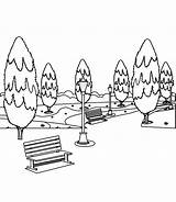 Park Coloring Benches Trees Bench Background Illustration sketch template