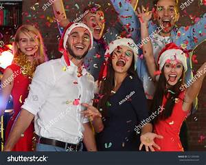 Young People Having Fun Christmas Party Stock Photo ...