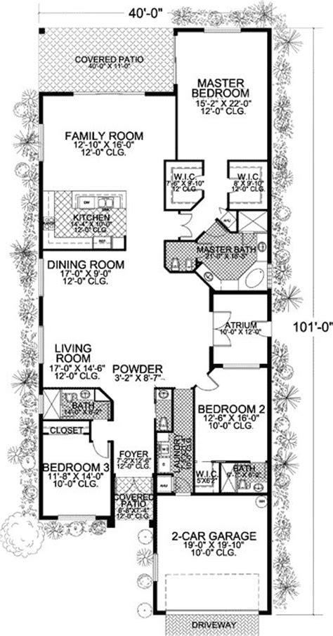 plan aa long  narrow mediterranean home plan mediterranean house plans