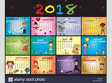 calendar 2018 with happy children Stock Photo 155179175