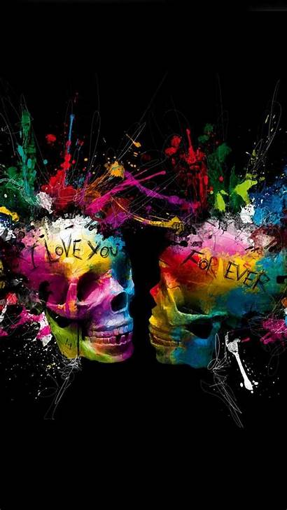 Skull Background Galaxy Colorful Abstract Skulls Cool