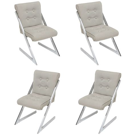 milo baughman for dia chrome dining chairs and matching