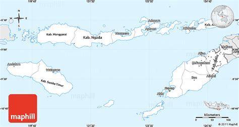 silver style simple map  east nusa tenggara
