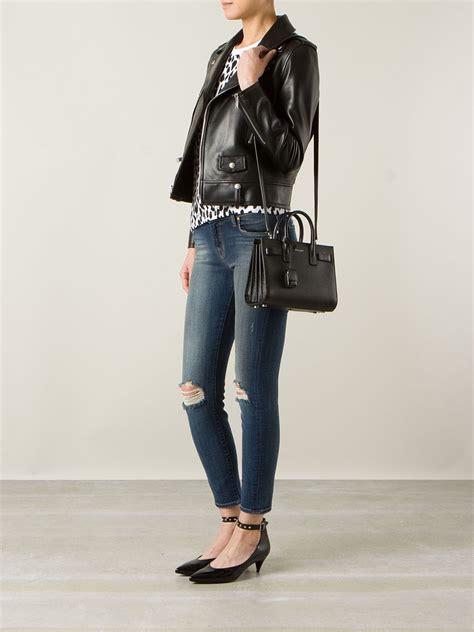 saint laurent leather small sac de jour tote  black lyst