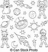 Cartoon Space Coloring Outer Illustration Vector Comet Children Fantasy Drawing Getdrawings Alien Clipart Moon Depositphotos sketch template