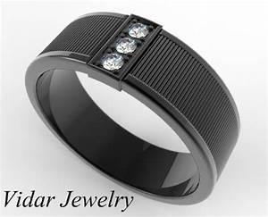 Men39s Black Gold Diamond Wedding Band Vidar Jewelry