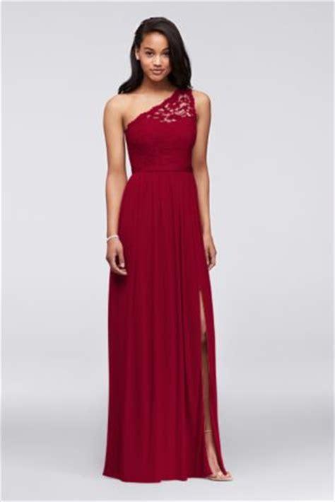 long  shoulder lace bridesmaid dress davids bridal