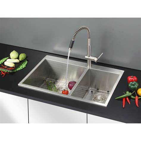 33 x 22 kitchen sink ruvati tirana 33 quot x 22 quot drop in double bowl kitchen sink