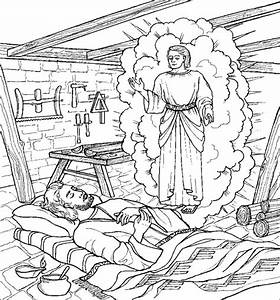 Joseph And The Angel Coloring Page Coloriage Religieux