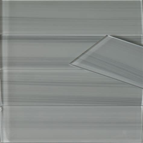 White Grey Line Glass Tile 3 x 12