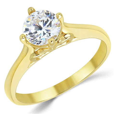 14k yellow gold wedding rings 14k solid yellow gold cz cubic zirconia solitaire engagement ring ebay
