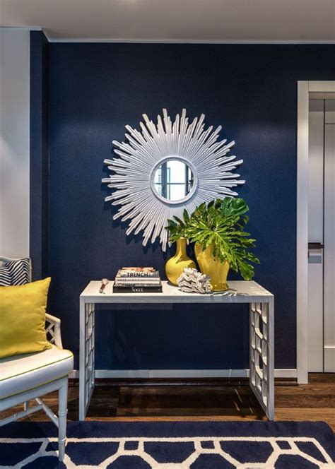 Accent Mirrors Entryway - mirror navy and blue accent walls on