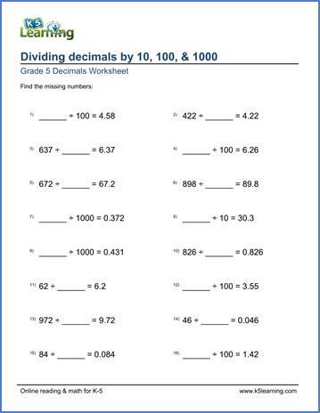 grade 5 division of decimals worksheets free printable