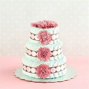 Three-Tier Diaper Cake, Diaper Cake, Diaper Cake with Flowers