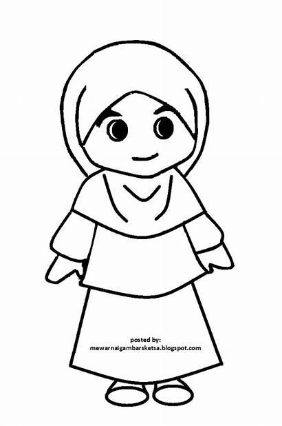 Mewarnai Sketsa Kartun Gambar Anak Muslim Muslimah