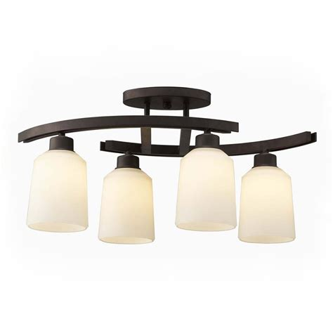 lowes kitchen lights over sink shop canarm quincy 4 75 in w 4 light oil rubbed bronze