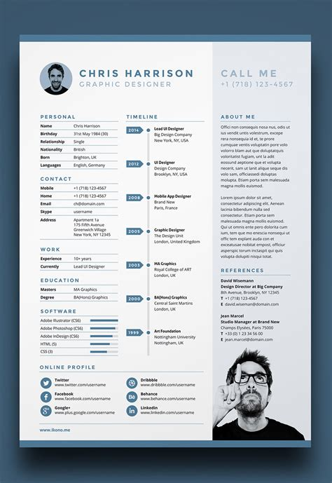 Photoshop Resume Template Free by 7 Free Editable Minimalist Resume Cv In Adobe Illustrator
