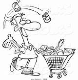 Shopping Grocery Coloring Cartoon Outline Clipart Vector Guy Leishman Ron Royalty Carrying Graphic Clipground Cliparts Showing sketch template