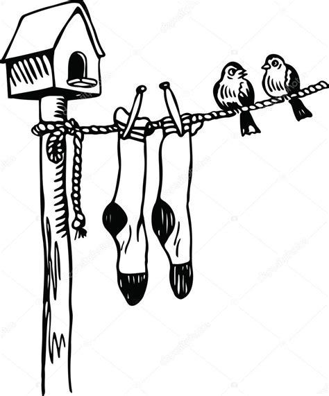 dessin corde a linge deux petits oiseaux samedi reposant sur une corde 224 linge image vectorielle 64292299