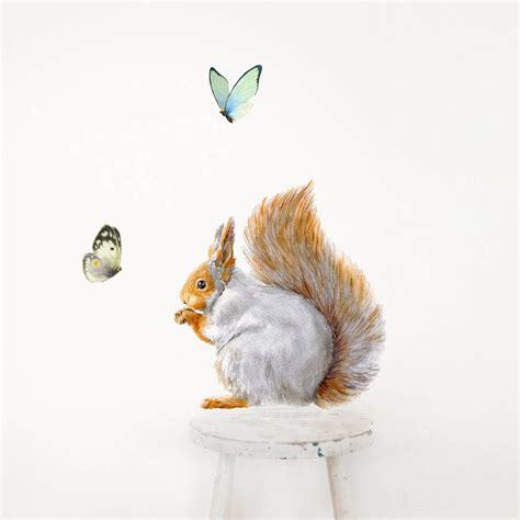 Squirrel Wall Sticker Squirrel And Butterflies Set
