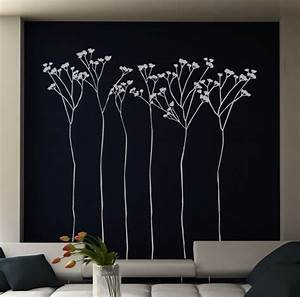 vinil wall sticker tall flowers by creativeadb on etsy With what kind of paint to use on kitchen cabinets for flying birds wall art