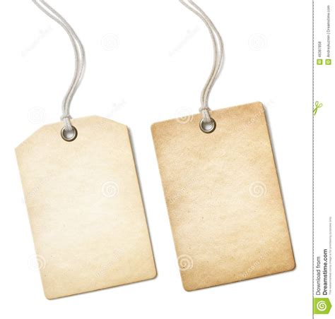 Blank Old Paper Price Tag Or Label Set Isolated On Stock