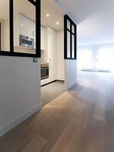 cette cuisine blanche laquee est ouverte sur le salon la With parquet salon cuisine