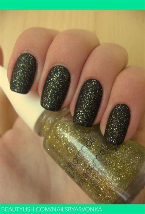 glitter matte gold nails sk
