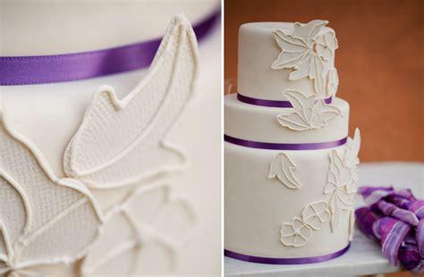 Classic Ivory Purple Wedding Cake