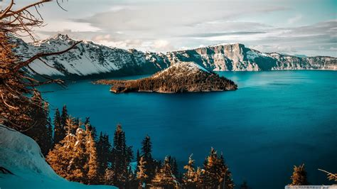 crater lake wizard island  hd desktop wallpaper