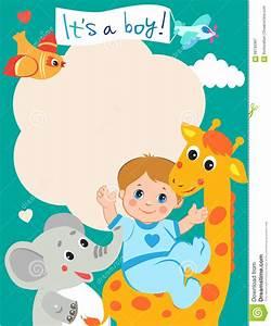 Birth Announcement Sample Baby Boy Shower Invitation Card With Funny Giraffe