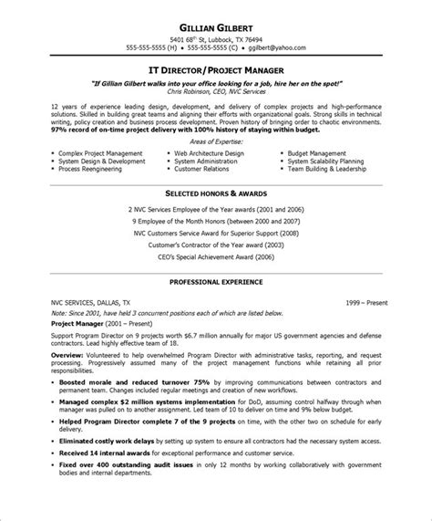 Exle Of A Resume For A Person With No Work Experience by It Director Free Resume Sles Blue Sky Resumes