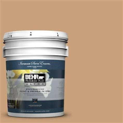 behr premium plus ultra 5 gal 270f 4 peanut butter satin enamel interior paint 775405 the