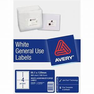 Avery general use labels white 4 up 100 sheet ebay for Avery 4 up labels