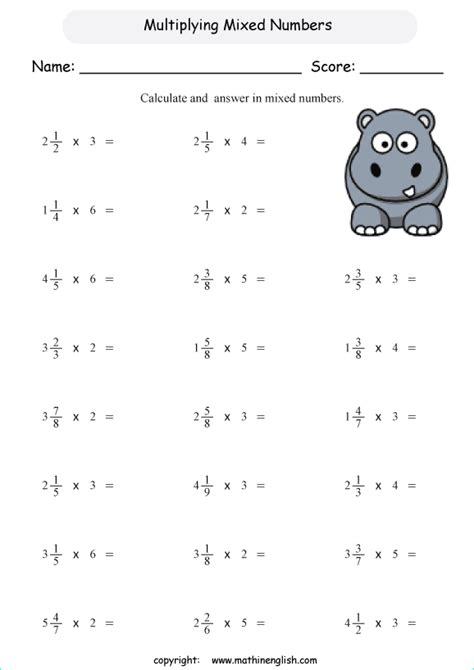 multiply mixed numbers by whole numbers math worksheet for