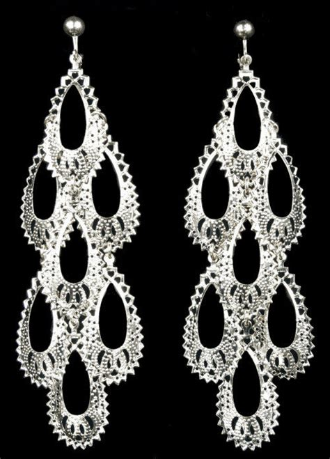 Big Gold Chandelier Earrings by Clip On 5 Quot Silver Big Boho Chandelier Earrings Ebay