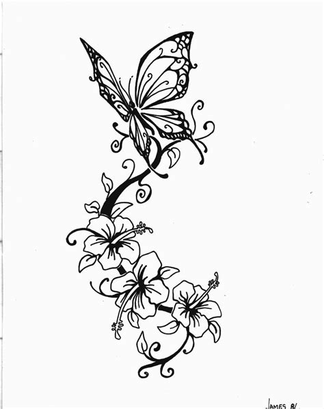 vines and flowers drawing - Google Search | Butterfly