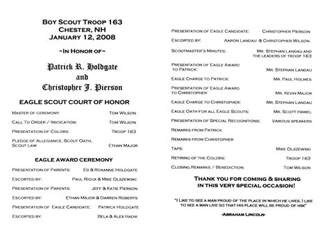 Eagle Scout Court Of Honor Program Template by 28 Images Of Boy Scout Ceremony Template Bosnablog