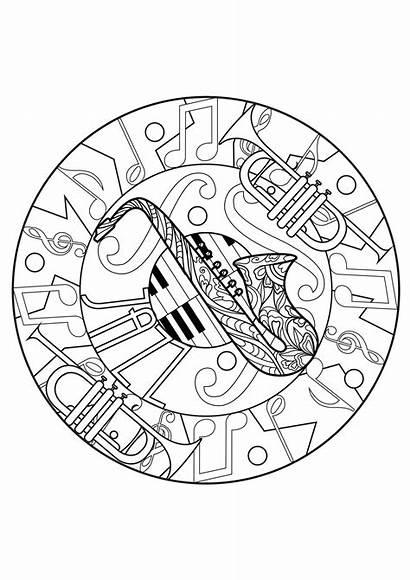 Mandala Mandalas Coloring Jazz Piano Colorear Adult