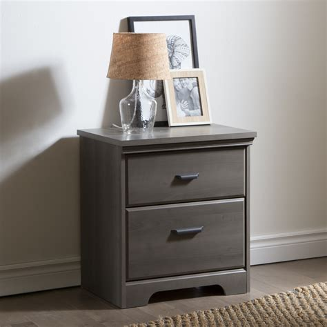Nightstands Bedroom by South Shore Versa 2 Drawer Stand Gray Maple Home