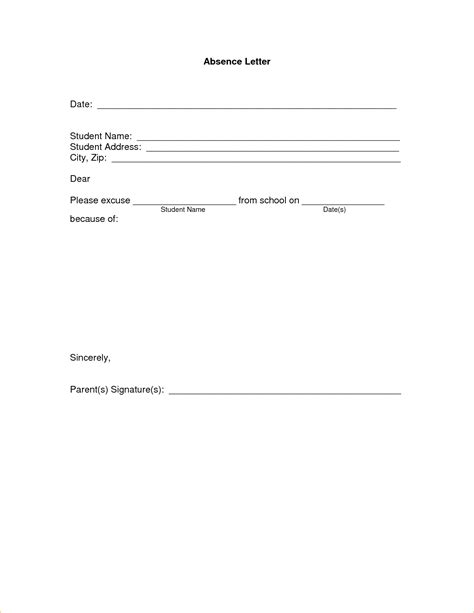 excuse letter for school 11 absence excuse letteragenda template sle agenda