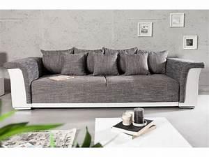 canape design ricky 3 places convertible blanc gris With canapé design 3 places